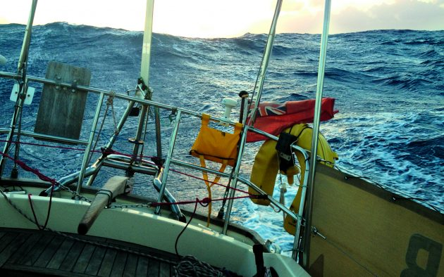 Sunrise in mid-Atlantic with Sea Bear, Chris Ayres's Vancouver 28 running before the trade winds. Credit: Chris Ayres