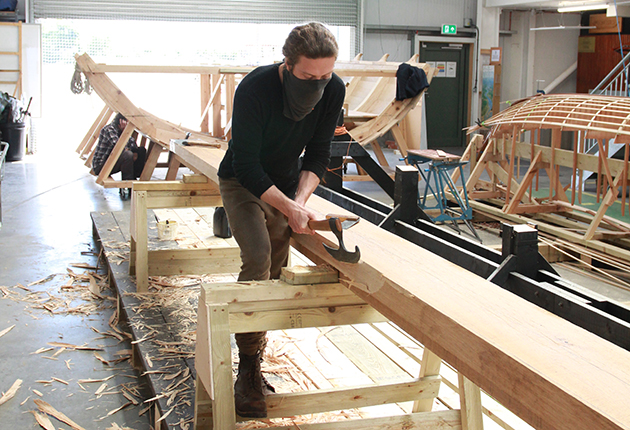 Traditional tools are used for the building of the replica boat.
