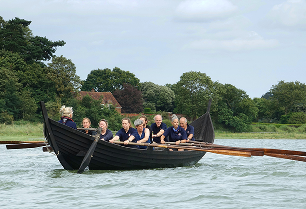 Sæ Wylfing, a half-length replica of the Sutton Hoo Ship, was built to test theories about her propulsion. Credit: Andy Mills