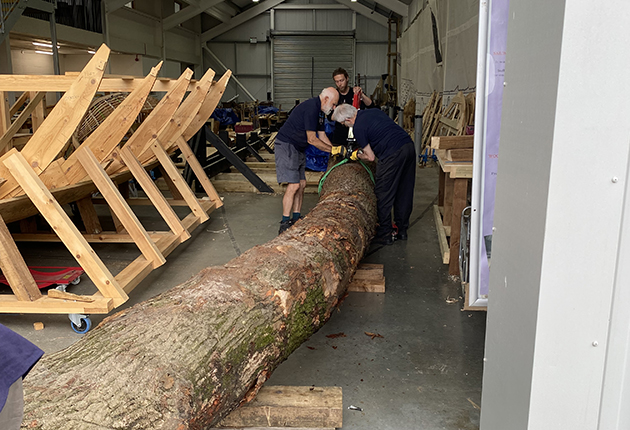 The wood for the keel, which took hours to cut and shape.