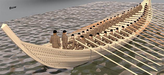A CGI representation of how the Sutton Hoo Ship might have looked. Credit: Daniel Fisher/Sutton Hoo Ship's Company