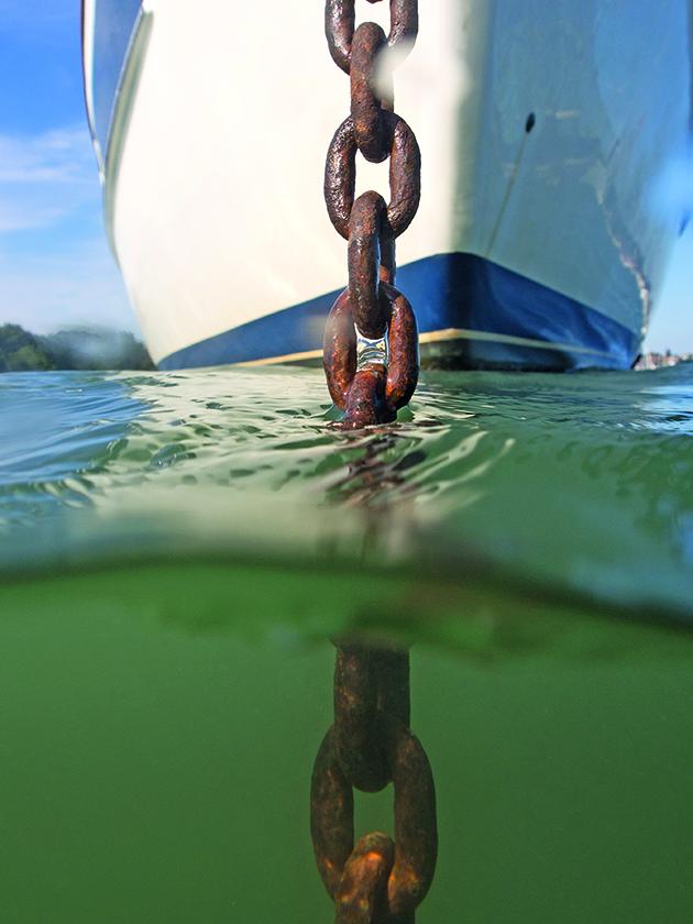A yacht an anchor
