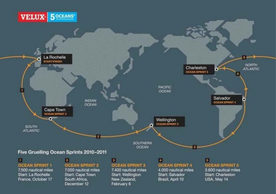 Velux 5 oceans announce dates yachting world velux 5 oceans 201011 map gumiabroncs Choice Image