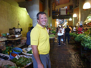 Paul Tetlow in Port Louis veg market