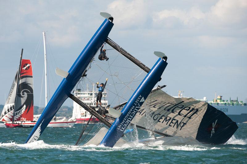 Extreme 40 catamaran capsize at Cowes