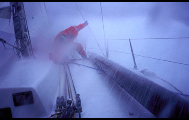 Working on the foredeck in heavy weather