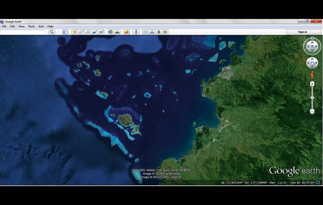 Google earth navigation sail off the chart yachting world on this google earth image reef systems and shallows appear as light blue areas on the gumiabroncs Choice Image