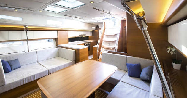 The spacious saloon can have a chart table adjoining the forward port berth