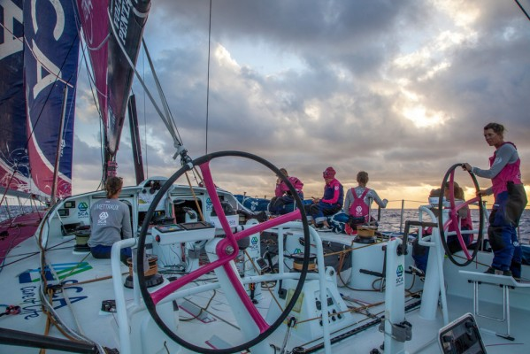 The all-women crew of Volvo Race entry Team SCA in action