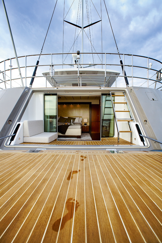 The owner's cabin on the Swan 105 opens onto a private deck