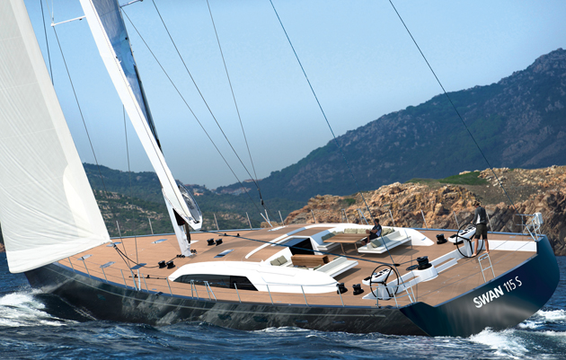 A rendering of the Swan 115, which launches this year