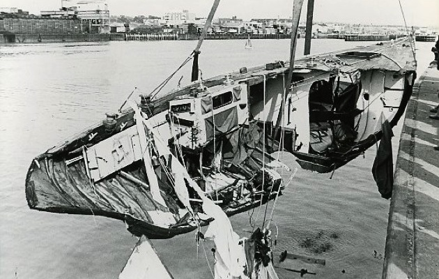 The salvaged wreckage of Sir Edward Heath's 44ft Morning Cloud, recovered after her sinking in 1974