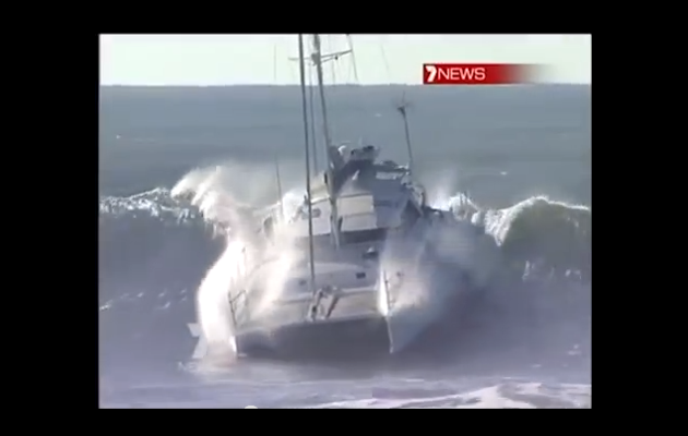 46ft catamaran surfing video