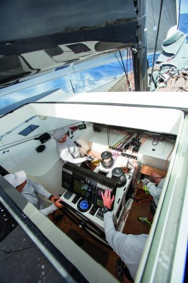 The helm pedestal includes a remote windlass control, plus controls for the daggerboards