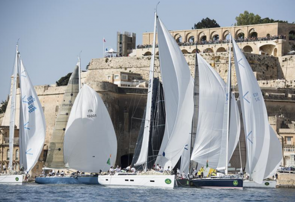 The start of the 2014 Middle Sea Race at Grand Harbour. Image courtesy Kurt Arrigo/ Rolex