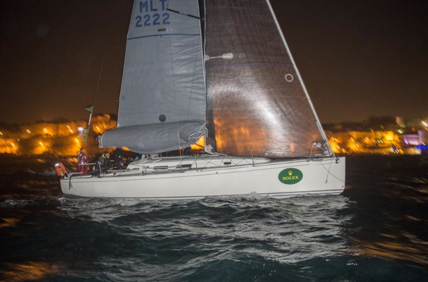 ARTIE (MLT) CROSSING THE FINISH LINE IN MARSAMXETT HARBOUR TO BECOME WINNER OF THE ROLEX MIDDLE SEA RACE 2014
