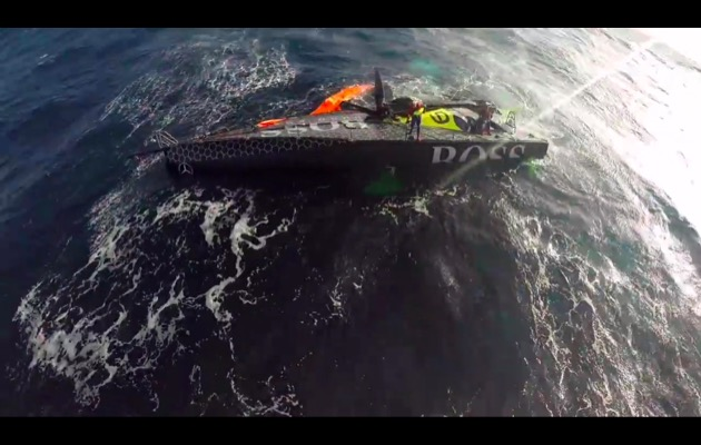 Alex Thomson's Hugo Boss yacht capsized