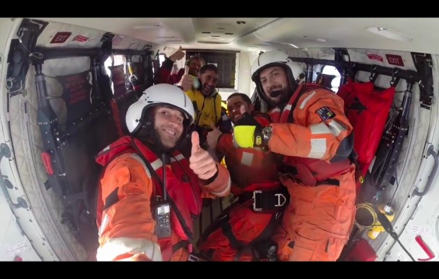 Thumbs up - rescue complete as Thomson and Altadill are safely aboard the Spanish Coastguard rescue helicopter