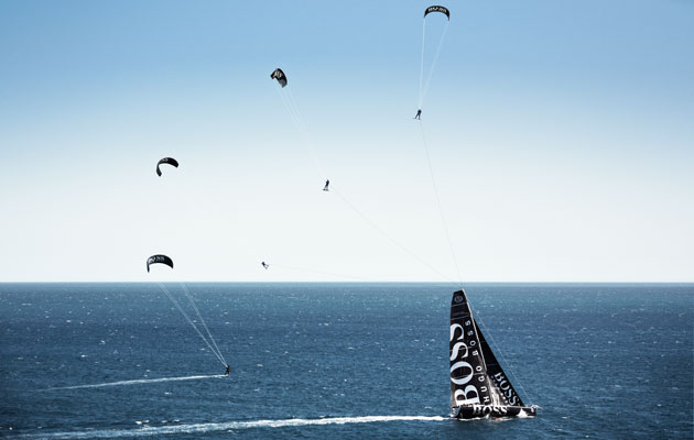 Video: Alex Thomson kitesurfs over the top of his IMOCA 60 race boat