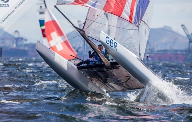 Ben Saxton and Nicola Groves representing Team GBR in the Nacra 17 mixed multihulls in the Rio sailing Olympics 2016