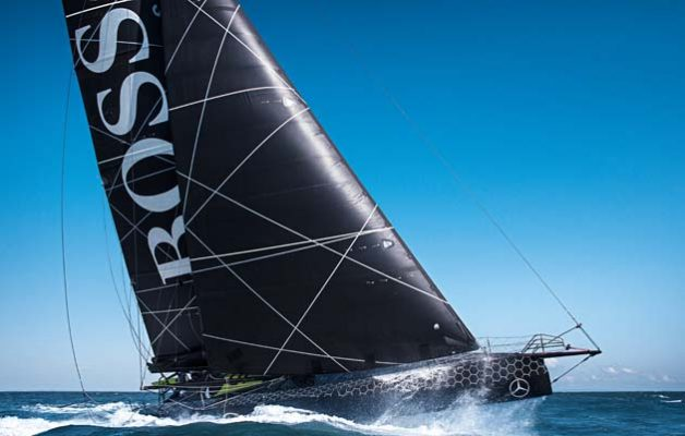 The new Hugo Boss IMOCA Open 60 race yacht skippered by Alex Thomson. Credit: Lloyd Images/ AT Racing