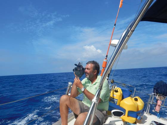 Nick Mines aboard Hejira, his Southerly 135. Nick sailed within sight of another boat to help them stay on course for over 1000 miles.