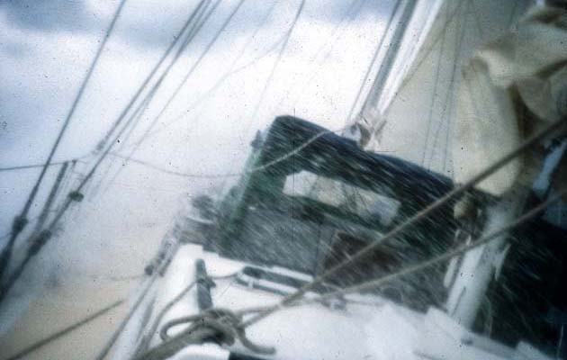 Lashing spray on a frenzied ocean as Isobell plunged downwind.