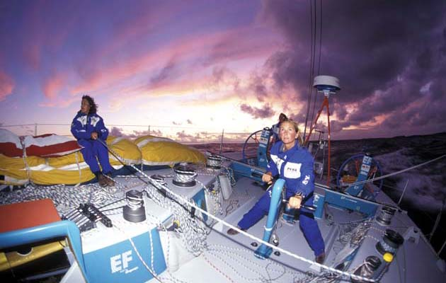 The all-women crew aboard EF Education  benefited from a joint Whitbread programme.