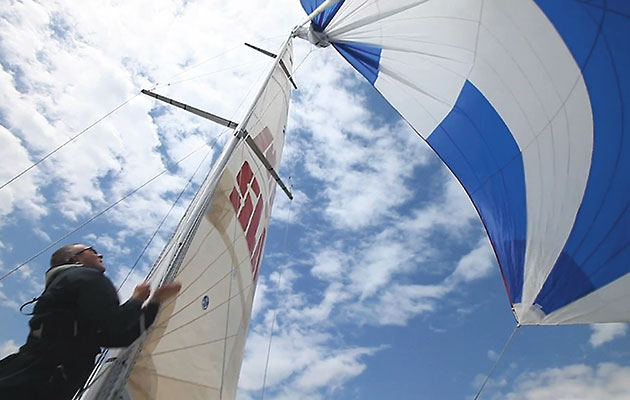With the right preparation and practice a spinnaker drop can be achieved safely by even the smallest crew.