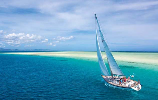 Sailing in the tropics is not all about going downwind. We find a high-clewed jib useful