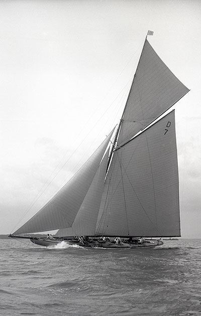 49. Istria. 1912, Camper & Nicholson: The 15-metre was the first yacht designed with a Marconi topmast, which was fitted with a track which meant the topsail could be hoisted from deck. With 72 wins out of 81 starts for Istria, the gaff rig was rapidly demoted to the history books. Istria was also the first large yacht to be built using laminated materials to save weight.