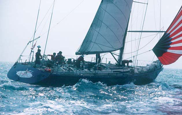 50. Ceramco. 1980, Farr Yacht Design: Peter Blake's 68-footer with a bulb keel and flat stern was designed to surf around the world in the 1981-82 Whitbread, but she was dismasted on leg one. The crew set a jury rig and sailed 4,400 miles to rejoin the race and resume battle with Flyer. Photo: Jean Jacques Bernard.