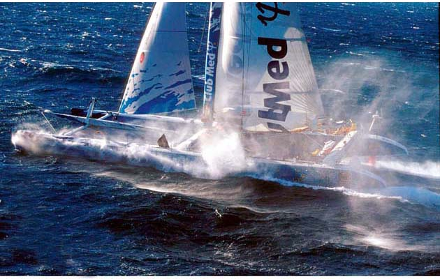 "33. Club Med. 2000, Gilles Ollier/Multiplast: The first non-stop, no-limits round the world sailing competition, known as The Race, set off in December 2000 from Barcelona. The event, and the enormous catamarans that competed in it, certainly had detractors. Team Philips, Pete Goss's experimental wave-piercing design, was launched to great fanfare but broke up before the race had even started. Yachting World magazine was among those uncomfortable at the time with how high the stakes had been raised. ""Of all the round the world races that have ever started, this has the greatest potential for a body count,"" then-editor Andrew Bray told the Sunday Times. In the end, there were no serious incidents, although the skipper of the Polish entry broke his leg on the final approach to the finish.The boats built for the event, such as Club Med, proved that not only could giant multihulls get around the world, but they could also set previously unheard of ocean speed records: Club Med set a 24-hour record of 625.7 miles before The Race even started. These designs then directly influenced a whole swathe of 'G Class' multihulls and Jules Verne trophy holders.""The Race and the boat was the brainchild of Bruno Peyron,"" recalls skipper Grant Dalton. ""It had a semi wing mast, was 108ft long and in its day was fast, very fast. People said we couldn't get it round, it was too big, too fast and the engineering wouldn't stand up. They were almost right: after it tore itself apart on a transatlantic we had to totally re-engineer it. But not only was it the fastest boat ever round the world at that time, we were the first boat to break 600 miles in a day, which we did multiple times."" Photo Carlo Borlenghi"