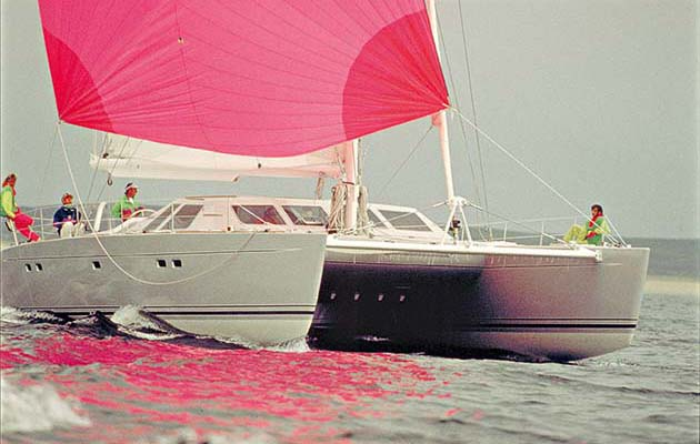 "30. Lagoon 55, 1984, VPLP: Jimmy Cornell says: ""One aspect that has influenced long distance cruising in my lifetime, is the increasing popularity of cruising catamarans."" Designer Marc van Peteghem comments: ""Catamarans, which were considered a real niche market 30 or 35 years ago, are now something really big. The Lagoon 55 which we designed was a big change in that field, the first to really mix performance and control."""