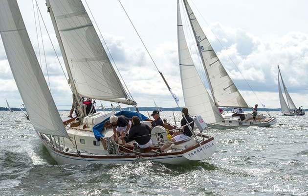 9. Tarantella. 1967, Sparkman & Stephens: Tarantella was originally conceived for owner Pekka Koskenkyla who wanted a 36-footer built using the new glassfibre method. S&S also adopted what was then a very modern keel arrangement, with a separate skeg and increased ballast aft, which reduced the hull wetted surface area and improved handling. The design became the first production Swan – 90 were built.