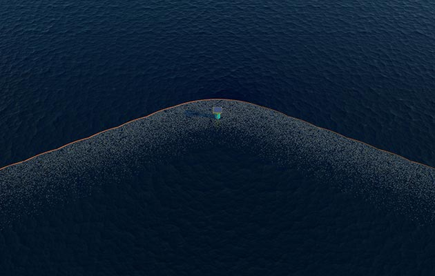 Artists impression of the eventual full-scale Pacific installation from Dutch company Ocean Cleanup.
