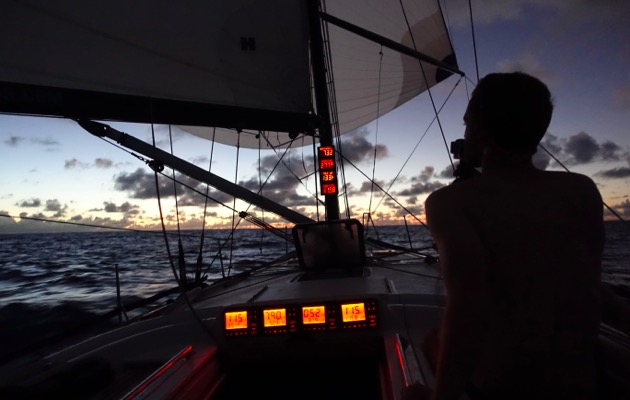 Racing at night on board Quokka
