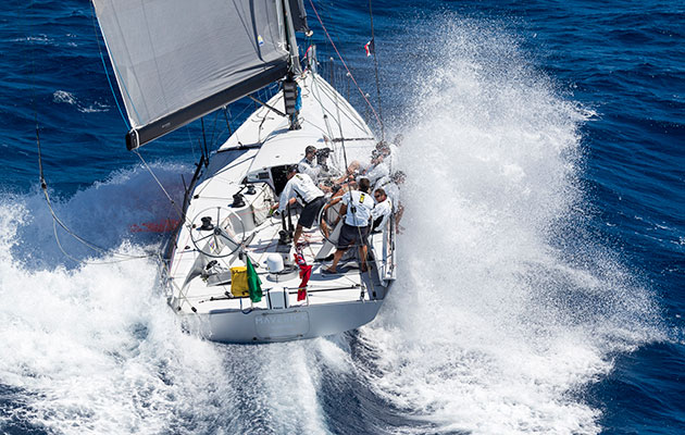 Infiniti 46, Maverick, at the Rolex Middle Sea Race 2016. Photo Carlo Borlenghi/Rolex.