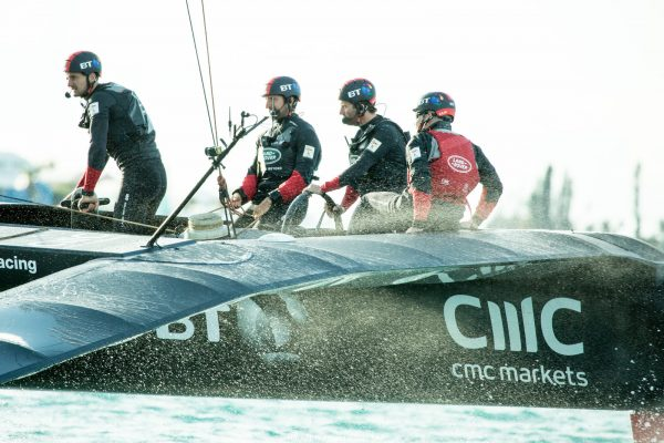 Land Rover BAR team on their boat