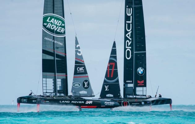 Practice racing AC50s Bermuda