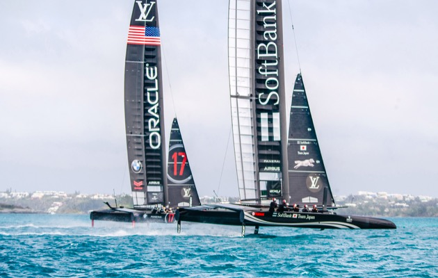 Oracle Team USA and SoftBank Team Japan during practice racing in Bermuda, April 2017