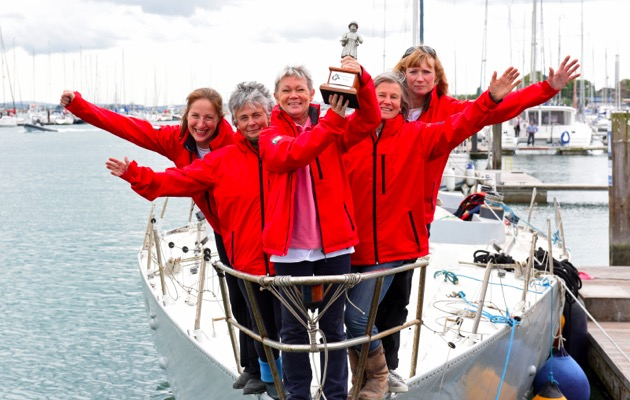 Tracy Edwards (front) and some of her original crew on the Whitbread maxi Maiden