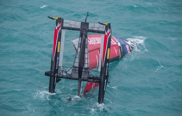 capsized catamaran