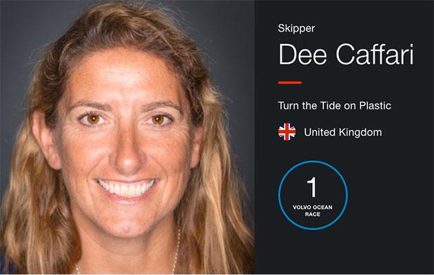 Dee Caffari skipper of Volvo Ocean Race team Turn the Tide on Plastic.