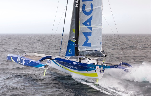 french solo sailor fran ois gabart out to beat round the world record in under 49 days in giant. Black Bedroom Furniture Sets. Home Design Ideas