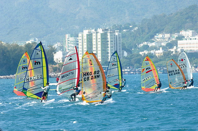 Windsurfers in Hong Kong