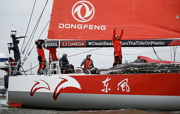 Leg 11, from Gothenburg to The Hague, arrivals. Dongfeng Race Team wins Leg 11 to take overall victory in Volvo Ocean Race 2017-18. 24 June, 2018.
