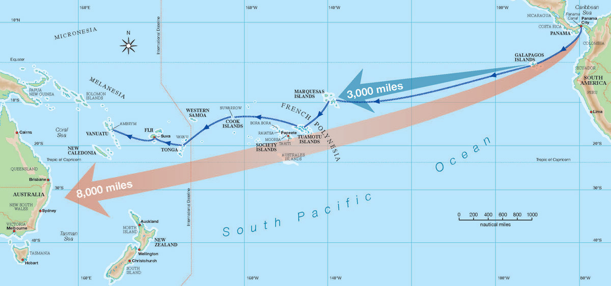how to sail across the pacific map