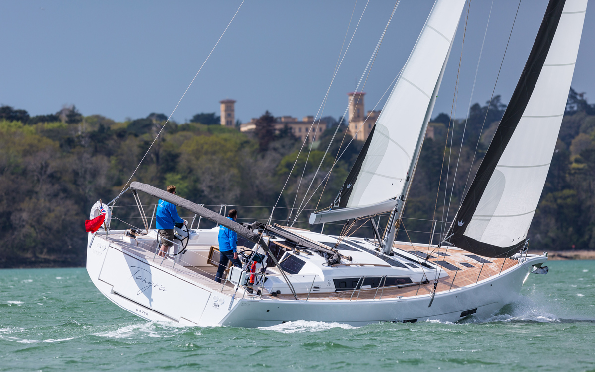 Dufour-56-exclusive-boat-test-aft-running-shot-credit-david-harding
