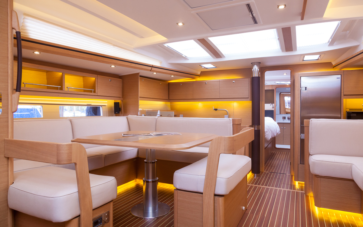 Dufour-56-exclusive-boat-test-interior-saloon-credit-david-harding